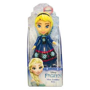 Mini Boneca - 10Cm - Disney - Frozen - Elsa - Vestido Azul com Flor - Sunny