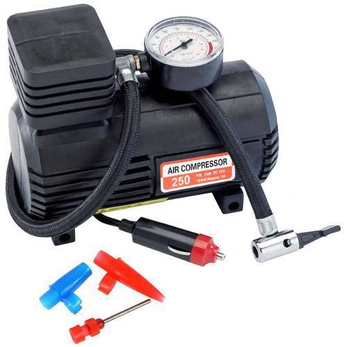 Tudo sobre 'Mini Compressor de Ar 12v 250psi com Manometro para Pneus e Inflaveis'