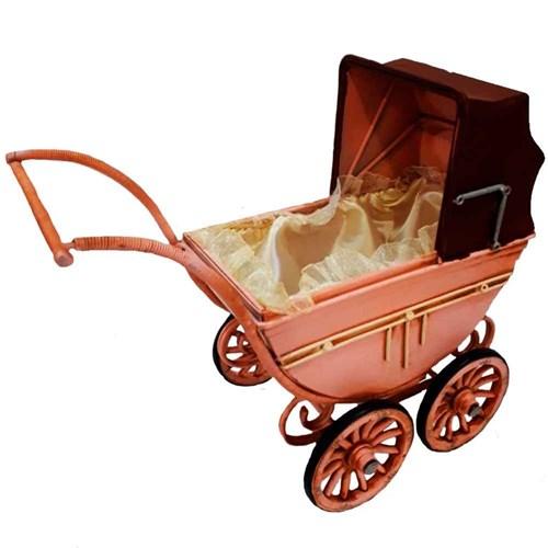 Miniatura Carrinho de Bebê Rosa