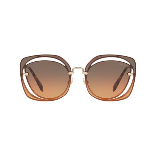 Miu Miu Eyewear Óculos de Sol com Vazado 'Scenique' - Marrom