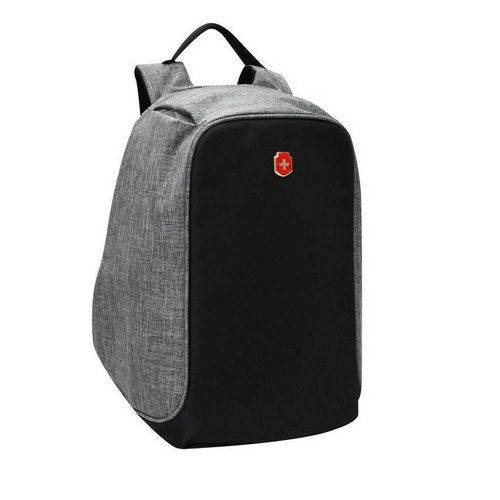 Mochila Anti Furto Notebook Antifurto USB Swissland Cinza