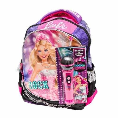 Mochila Barbie Rock'n Royals G Roxa com Microfone Sestini