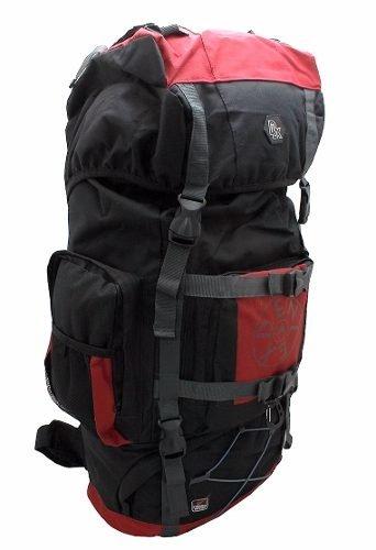 Mochila Camping Trilha 60 Litros Denlex com Garantia (Preto com Vermelho)