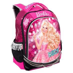 Mochila Escolar Infantil G Sestini de Costas Barbie Rock'n Royals - Rosa/Preto