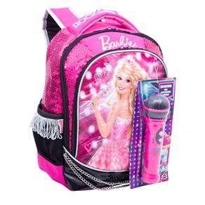 Mochila Escolar Infantil M Sestini de Costas Barbie Rock'n Royals - Rosa/Preto