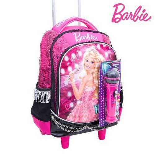 Mochilete Barbie Rock N Royals em Poliéster G, + Microfone, Puxador Resistente, Rosa - Sestini