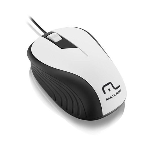 Mouse Multilaser Emborrachado Branco com Fio USB - MO224