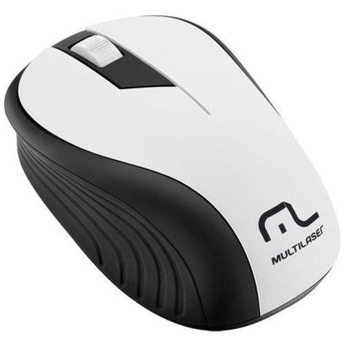 Mouse Multilaser Sem Fio Wave 1200dpi 2.4ghz Anatômico - Mo216 - Branco/preto