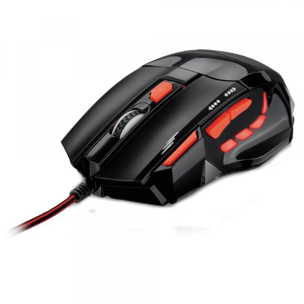 Mouse Óptico Xgamer Fire Button USB 2400 DPI Preto/Vermelho Multilaser - MO236