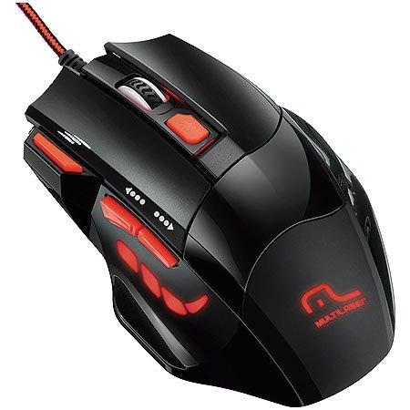 Mouse Optico Xgamer Fire Button USB 2400DPI Preto e Vermelho Multilaser MO236