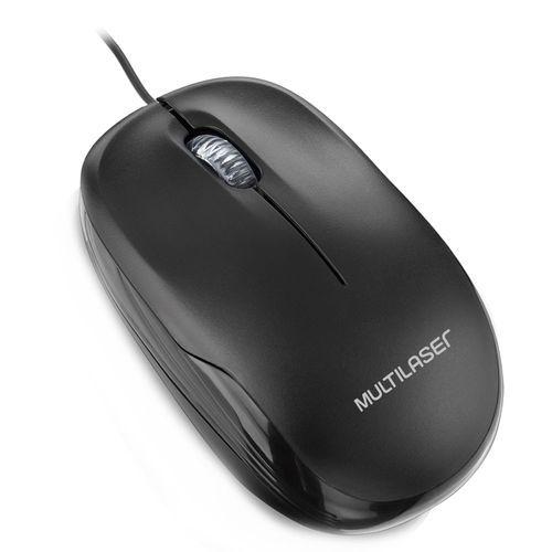 Mouse - USB - Multilaser Classic - Preto - MO255