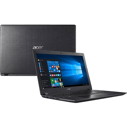 "Notebook Acer A315-51-30V4 8ª Intel Core 8 I3 4GB 1TB Tela LED 15.6"" Windows 10 - Preto"
