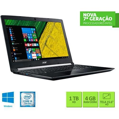 "Notebook Acer A515-51-55QD Intel Core I5 4GB 1TB Tela LED 15.6"" Windows 10 - Preto"