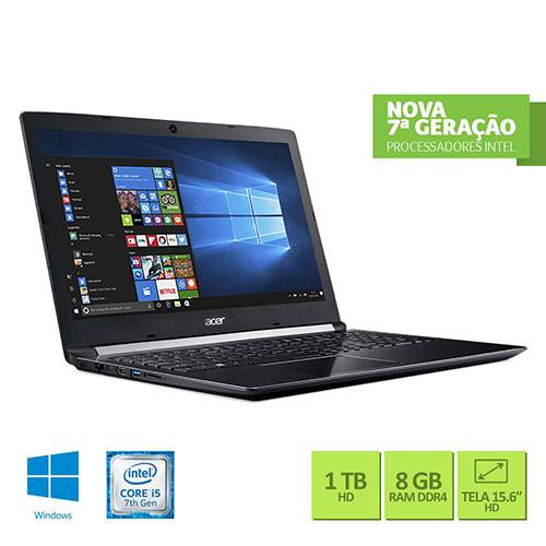 "Notebook Acer A515-51-56K6 Intel Core I5 8GB 1TB Tela LED 15.6"" Windows 10 - Preto"