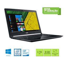 Tudo sobre 'Notebook Acer A515-51G-58VH Core I5 7200U 8GB 1TB Placa de Vìdeo Geforce 2GB 940mx Win10 15.6 Preto'