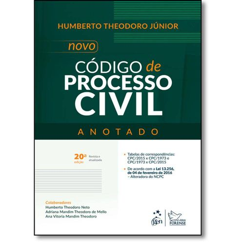 Novo Codigo de Processo Civil - Anotado - 20 Ed