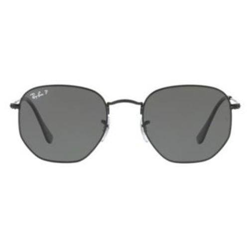 Óculos de Sol Ray Ban Hexagonal Metal RB3548 Preto Lente Verde Flat Polarizada 51