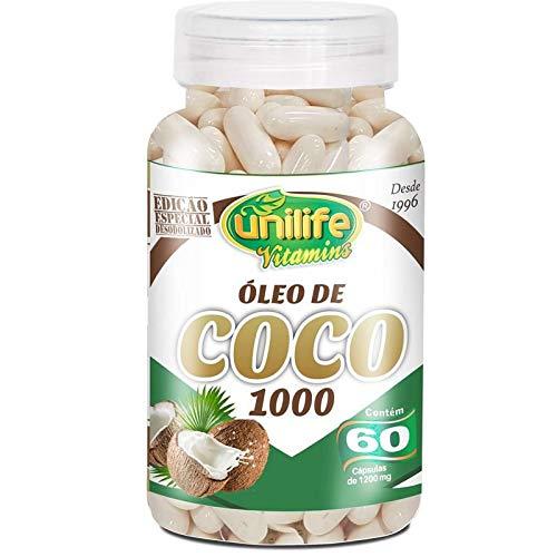 Óleo de Coco Extra Virgem 1200mg Unilife 60 Cápsulas