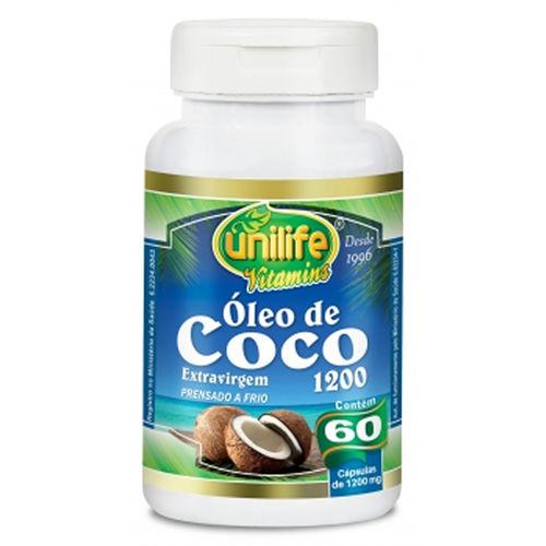 Óleo de Coco Extra Virgem Unilife 60 Cápsulas 1200mg