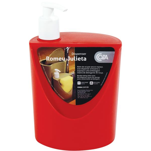 Organizador Suporte Dispenser Detergente Esponja para Pia Vermelho - Coza