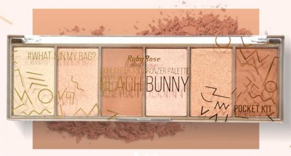 Paleta Beach Bunny Iluminador e Bronzer Ruby Rose Hb-7514