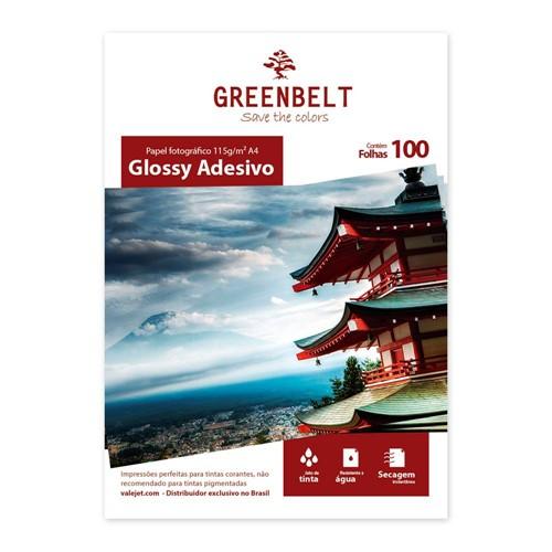 Papel A4 Adesivo Glossy Fotográfico 115g Greenbelt 100 Folhas
