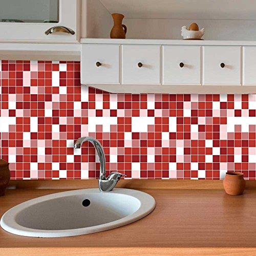 Papel de Parede Auto Adesivo Lavável Pastilha Pa0057 Vermelha e Branca
