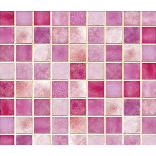 Papel de Parede Auto Adesivo Lavável Pastilha Rosa