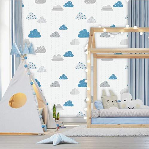 Papel de Parede Baby Nuvens Cinza e Azul