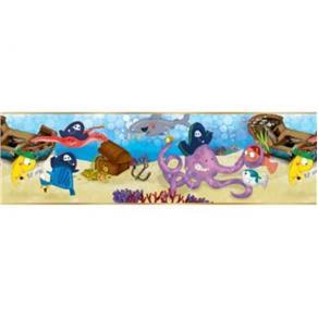 Papel de Parede Cuentos Fundo do Mar Azul 500x17cm Muresco