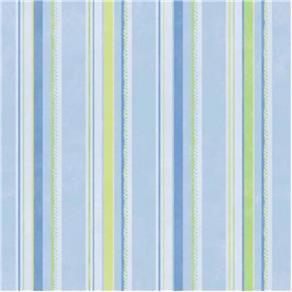 Papel de Parede Cuentos Listras Azul e Verde 53x1000cm Muresco