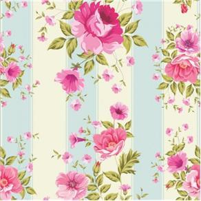 Papel de Parede Flores com S Adesivo - Rosa -