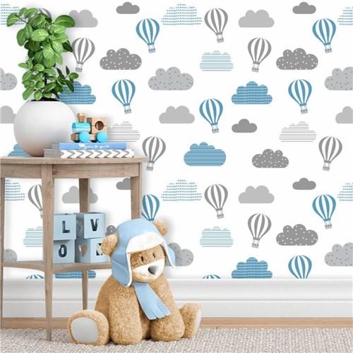 Papel de Parede Infantil Balões Cinza e Azul