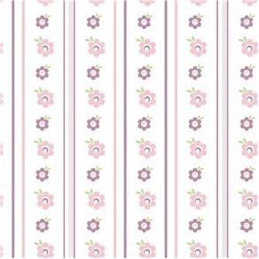 Papel de Parede S e Flores Adesivo - Rosa