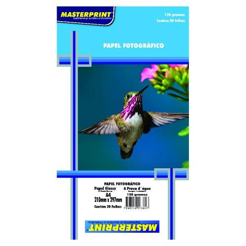 Papel Fotográfico A4 210mmx297mm 120g Embalagem com 20 Folhas Masterprint