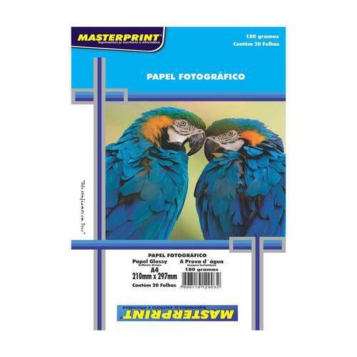 Papel Fotográfico A4 210mmx297mm 180g Embalagem com 20 Folhas Masterprint
