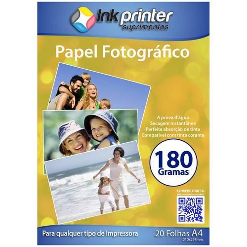 Papel Fotográfico Brilhante Glossy A4 180gr - 20 Folhas