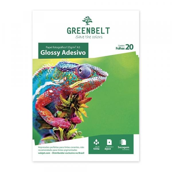 Papel Fotográfico Glossy Adesivo A3 135g Greenbelt 20 Folhas