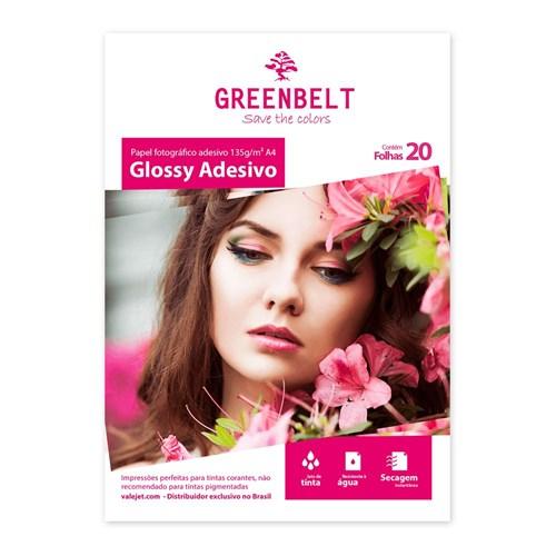 Papel Fotográfico Glossy Adesivo A4 Greenbelt 135g 20 Folhas
