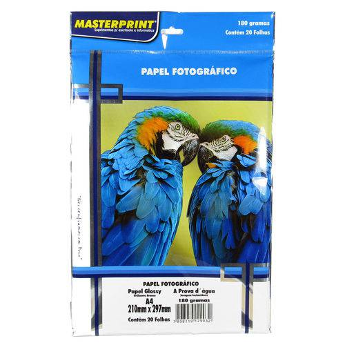Papel Fotográfico Glossy Masterprint A4 180 Gramas 20 Folhas