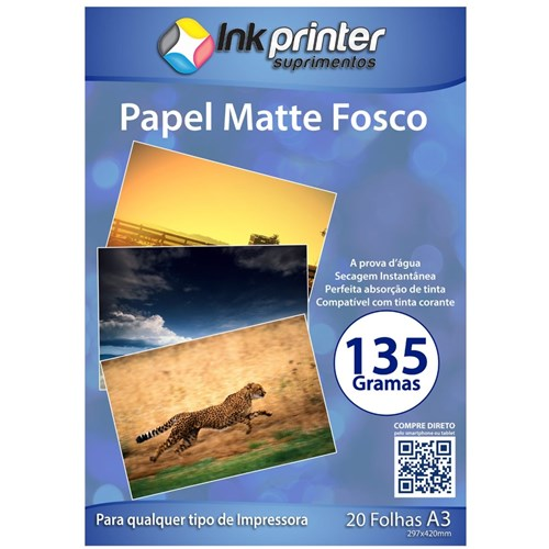 Papel Fotográfico Matte Fosco A3 135Gr - 20 Folhas