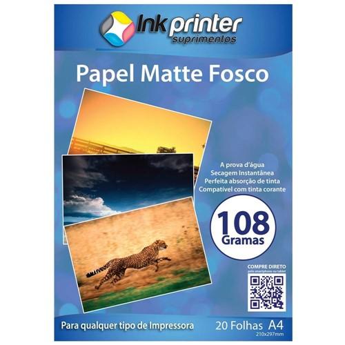 Papel Fotográfico Matte Fosco A4 108gr - 20 Folhas