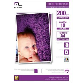 Papel Multilaser Photo Glossy 200Gr Tam A4 C/10Fls