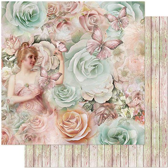 Tudo sobre 'Papel Scrapbook Litoarte 30,5x30,5 SD-966 Dama, Borboleta e Rosas'