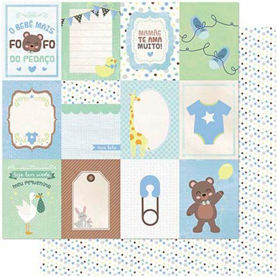 Tudo sobre 'Papel Scrapbook Litoarte 30,5x30,5 SD-985 Tags Bebê Masculino Verso Poá'