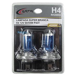 Par de Lâmpadas H4 Super Branca - 60/55W 12V 4200K