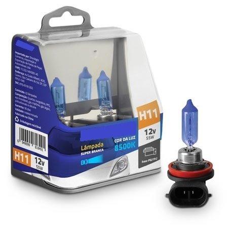 Par Lampada Super Branca H11 8500K 12V 55W