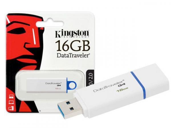 Pen Drive 16Gb DTIG4/16GB USB 3.0 Datatraveler Generation 4 Branco/Azul Kingston