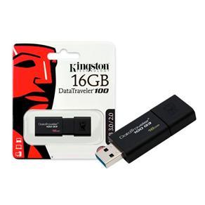 Pen Drive 16GB Kingston DataTraveler 100 G3 - USB 3.0 - Preto - DT100G3/16GB I