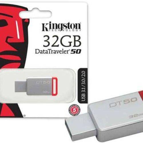 Pen Drive 32gb Usb 3.1 Kingston Dt50 Datatraveler 50 Metal Vermelho